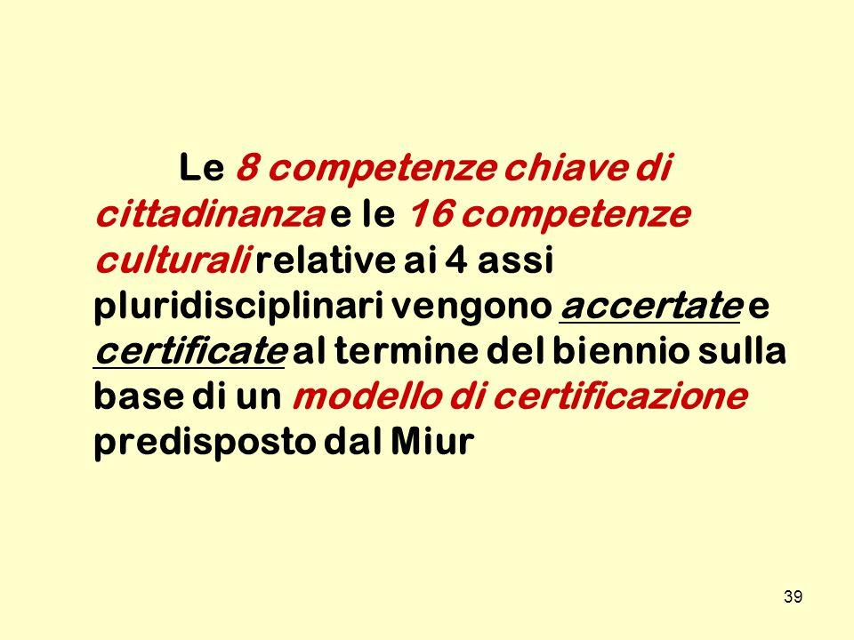 39 Le 8 competenze chiave di cittadinanza e le 16 competenze culturali relative ai 4 assi pluridisciplinari vengono accertate e certificate al termine