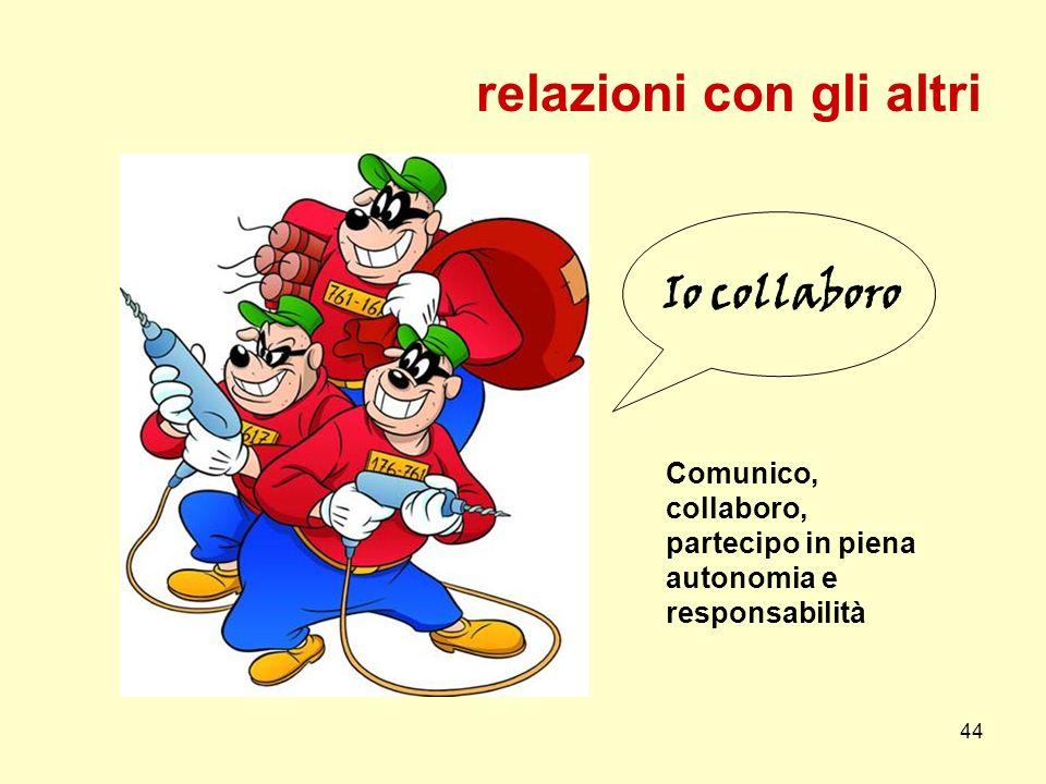 44 Io collaboro relazioni con gli altri Comunico, collaboro, partecipo in piena autonomia e responsabilità