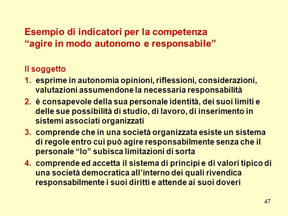 47 Esempio di indicatori per la competenza agire in modo autonomo e responsabile Il soggetto 1. esprime in autonomia opinioni, riflessioni, consideraz