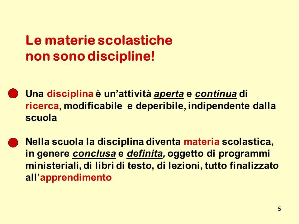 5 Le materie scolastiche non sono discipline! Una disciplina è unattività aperta e continua di ricerca, modificabile e deperibile, indipendente dalla