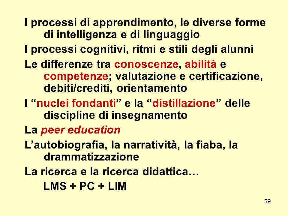 59 I processi di apprendimento, le diverse forme di intelligenza e di linguaggio I processi cognitivi, ritmi e stili degli alunni Le differenze tra co