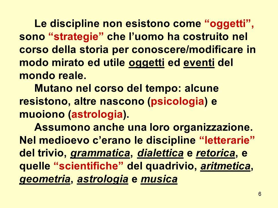 6 Le discipline non esistono come oggetti, sono strategie che luomo ha costruito nel corso della storia per conoscere/modificare in modo mirato ed uti