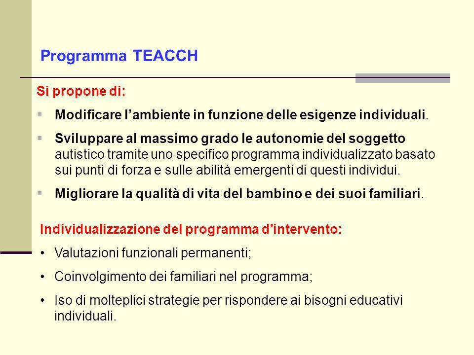 Programma TEACCH Si propone di: Modificare lambiente in funzione delle esigenze individuali.