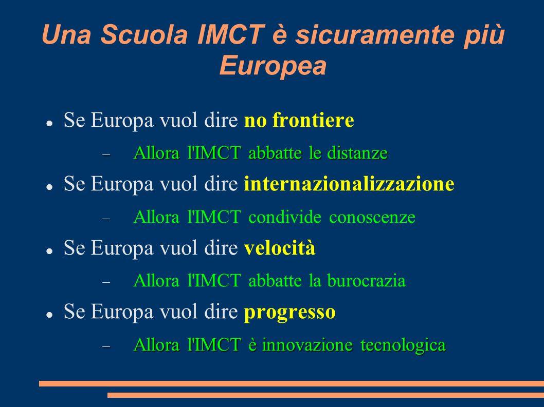 Una Scuola IMCT è sicuramente più Europea Se Europa vuol dire no frontiere Allora l IMCT abbatte le distanze Allora l IMCT abbatte le distanze Se Europa vuol dire internazionalizzazione Allora l IMCT condivide conoscenze Se Europa vuol dire velocità Allora l IMCT abbatte la burocrazia Se Europa vuol dire progresso Allora l IMCT è innovazione tecnologica Allora l IMCT è innovazione tecnologica