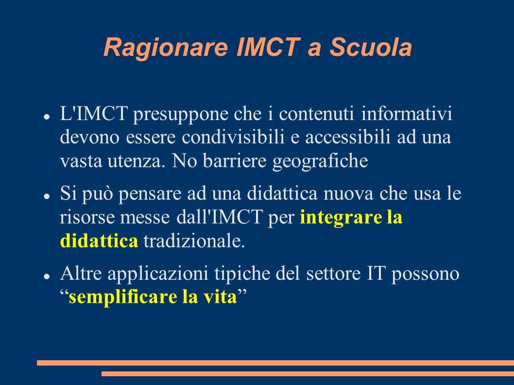 Ragionare IMCT a Scuola L IMCT presuppone che i contenuti informativi devono essere condivisibili e accessibili ad una vasta utenza.