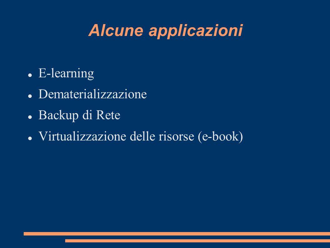 Alcune applicazioni E-learning Dematerializzazione Backup di Rete Virtualizzazione delle risorse (e-book)