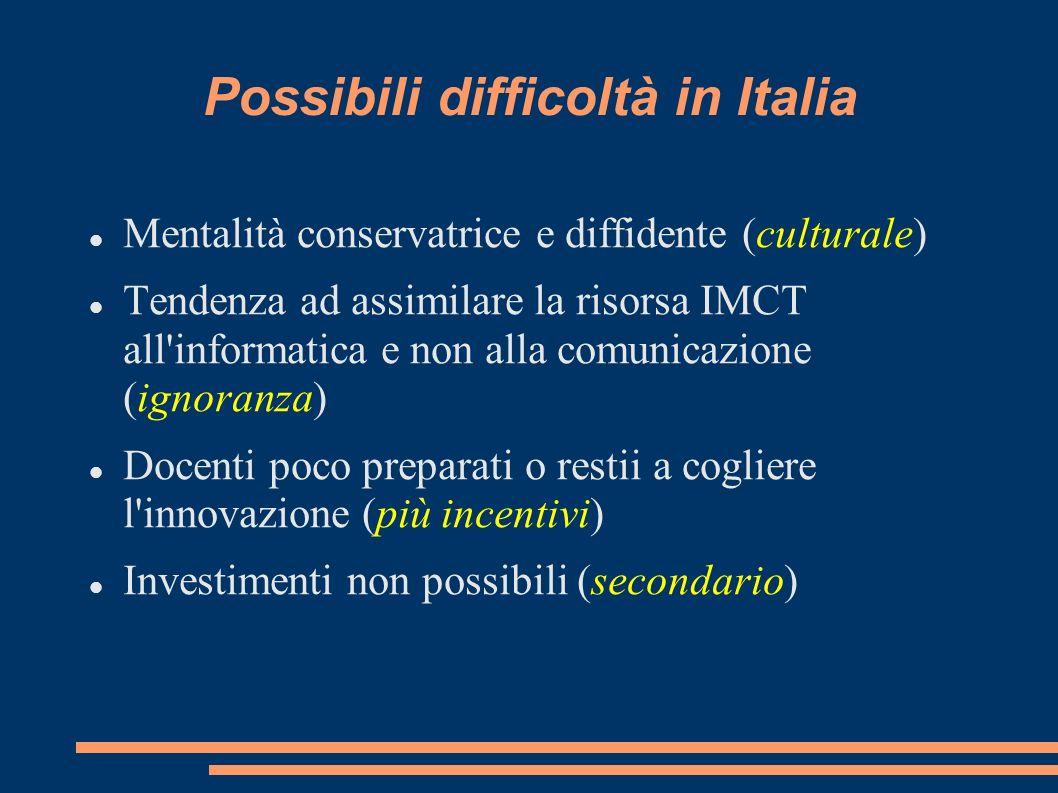 Possibili difficoltà in Italia Mentalità conservatrice e diffidente (culturale) Tendenza ad assimilare la risorsa IMCT all informatica e non alla comunicazione (ignoranza) Docenti poco preparati o restii a cogliere l innovazione (più incentivi) Investimenti non possibili (secondario)