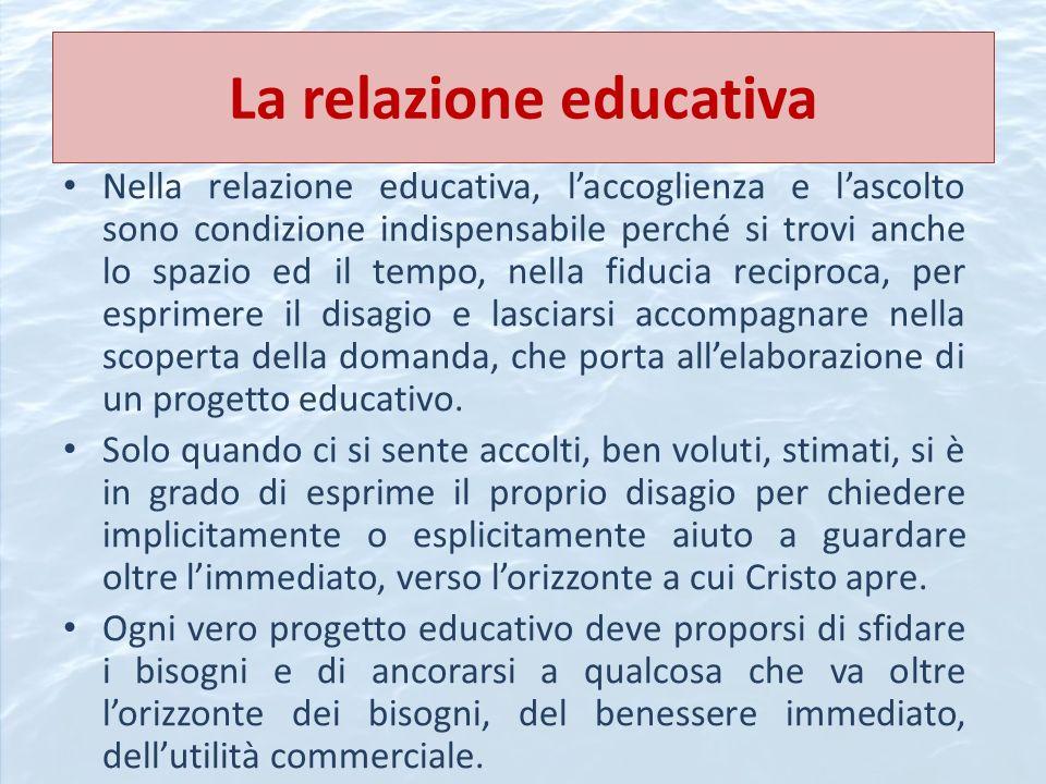 La relazione educativa Nella relazione educativa, laccoglienza e lascolto sono condizione indispensabile perché si trovi anche lo spazio ed il tempo,