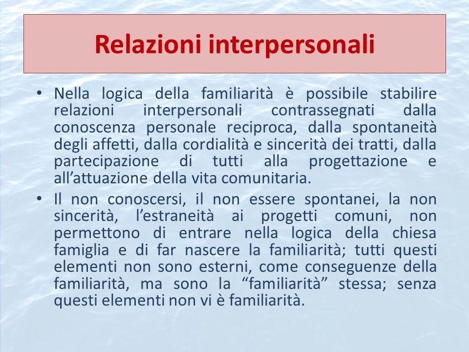 Relazioni interpersonali Nella logica della familiarità è possibile stabilire relazioni interpersonali contrassegnati dalla conoscenza personale recip
