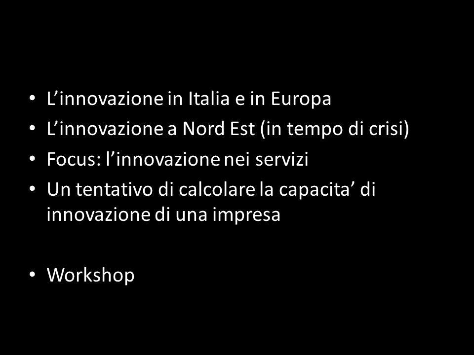 Linnovazione in Italia e in Europa Linnovazione a Nord Est (in tempo di crisi) Focus: linnovazione nei servizi Un tentativo di calcolare la capacita d