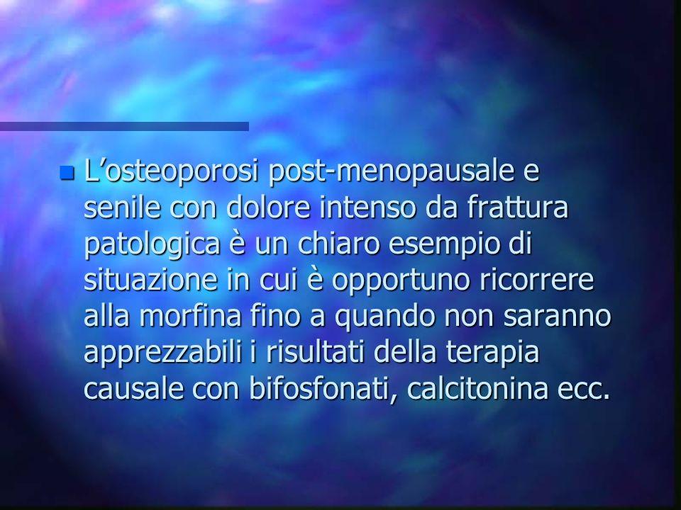 n Losteoporosi post-menopausale e senile con dolore intenso da frattura patologica è un chiaro esempio di situazione in cui è opportuno ricorrere alla