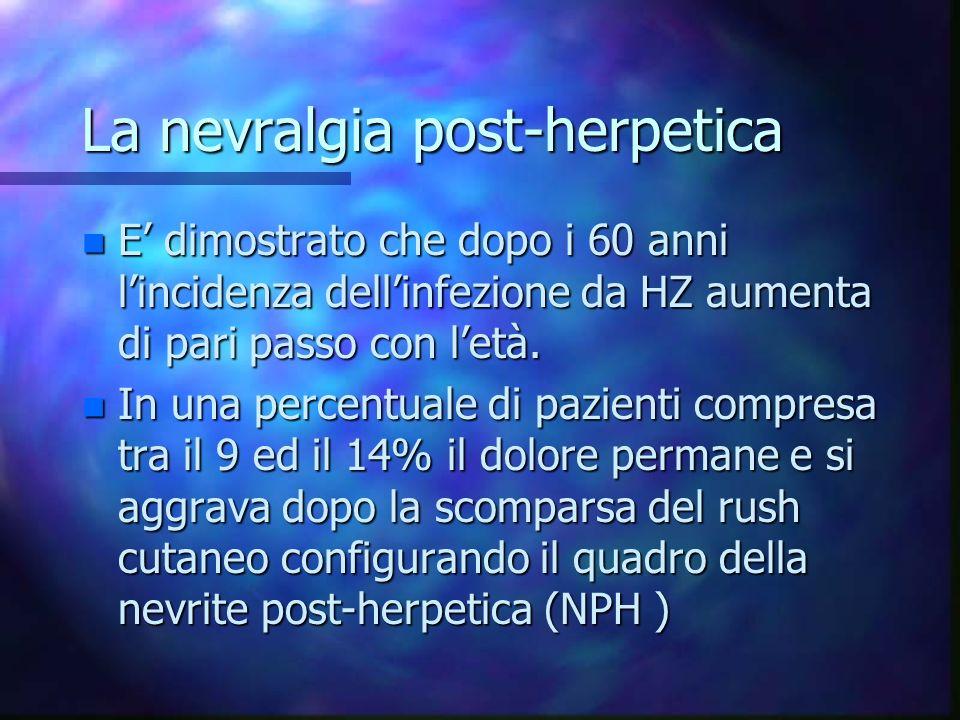 La nevralgia post-herpetica n E dimostrato che dopo i 60 anni lincidenza dellinfezione da HZ aumenta di pari passo con letà. n In una percentuale di p