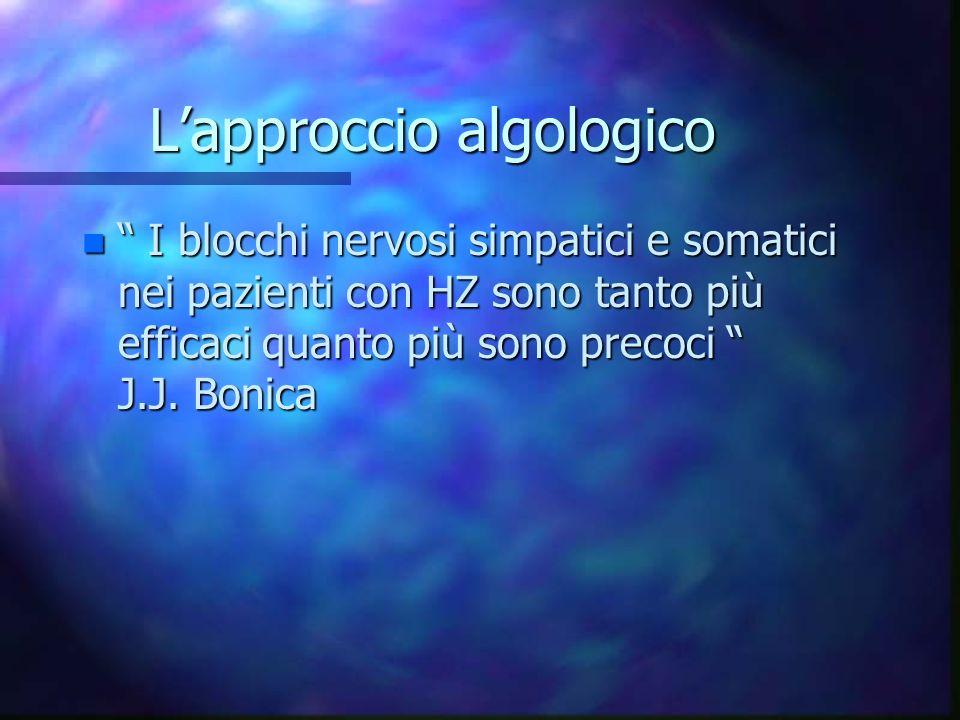 Lapproccio algologico n I blocchi nervosi simpatici e somatici nei pazienti con HZ sono tanto più efficaci quanto più sono precoci J.J. Bonica