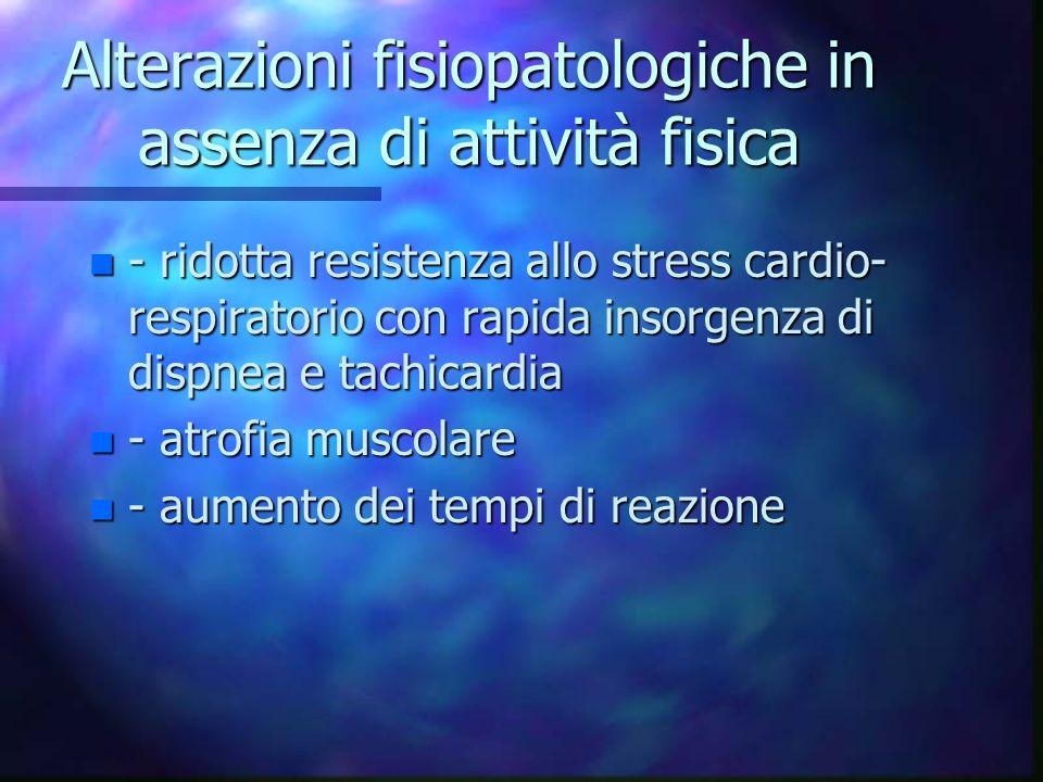 Alterazioni fisiopatologiche in assenza di attività fisica n - ridotta resistenza allo stress cardio- respiratorio con rapida insorgenza di dispnea e
