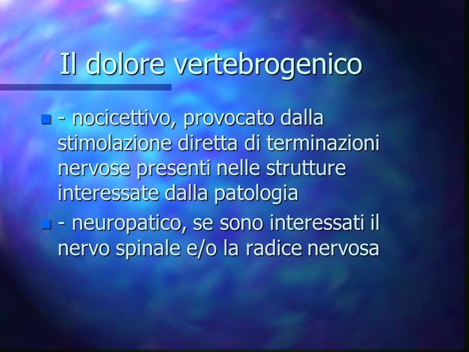 Il dolore vertebrogenico n - nocicettivo, provocato dalla stimolazione diretta di terminazioni nervose presenti nelle strutture interessate dalla pato