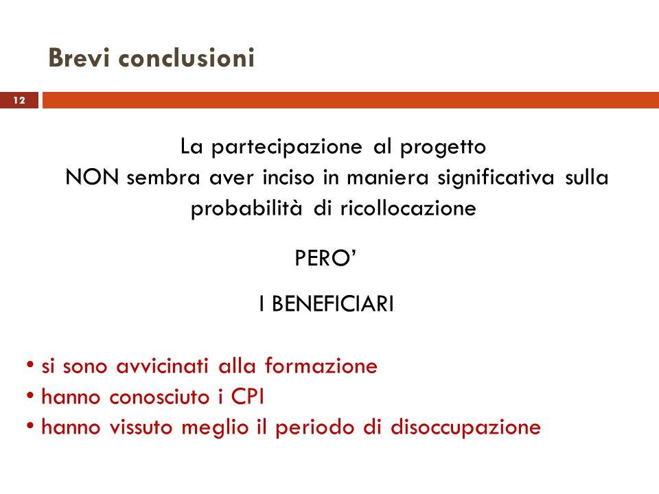 12 La partecipazione al progetto NON sembra aver inciso in maniera significativa sulla probabilità di ricollocazione Brevi conclusioni PERO I BENEFICI