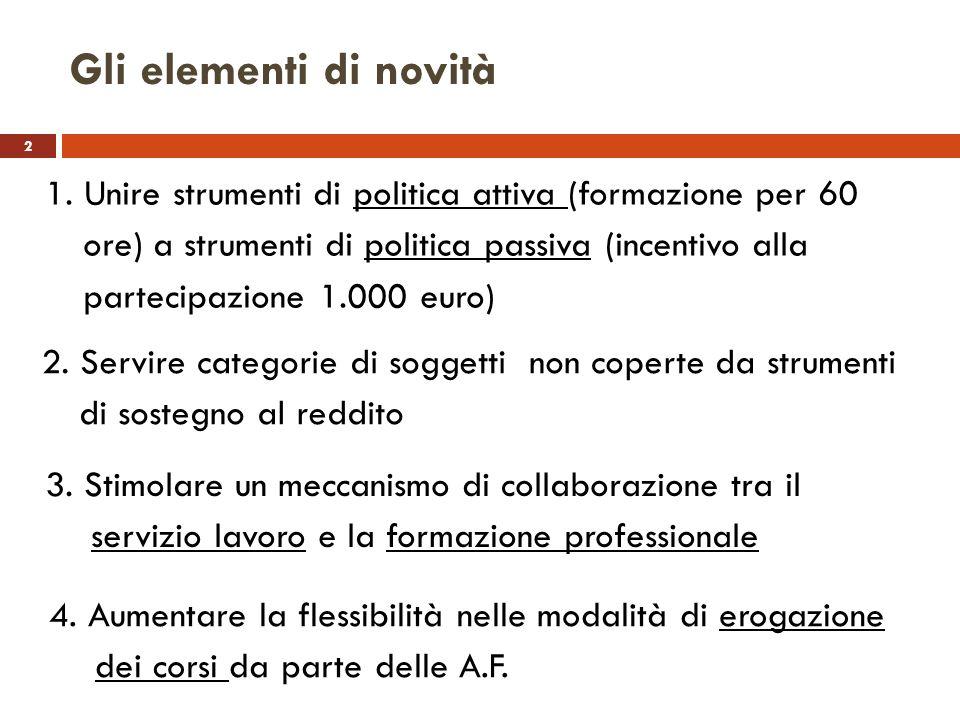 2 Gli elementi di novità 1. Unire strumenti di politica attiva (formazione per 60 ore) a strumenti di politica passiva (incentivo alla partecipazione