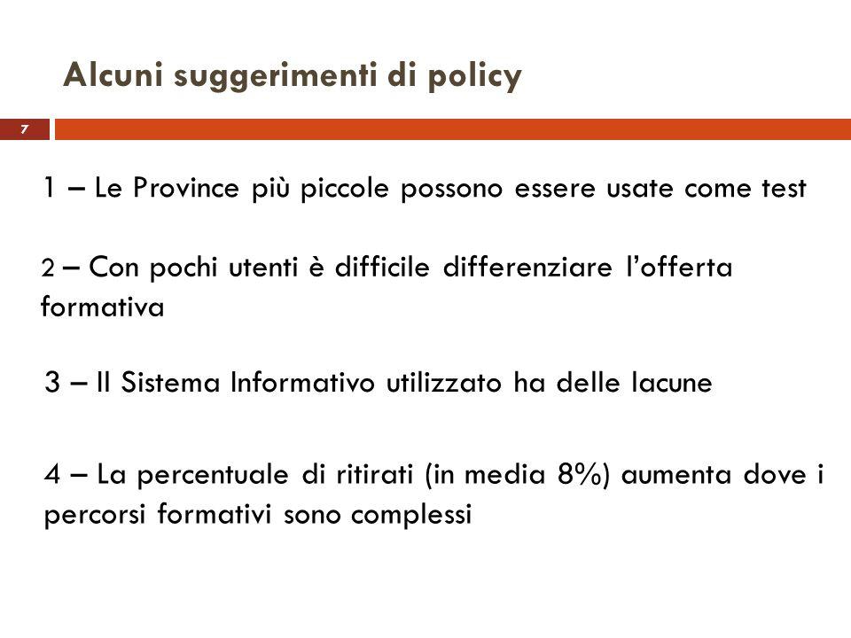 7 Alcuni suggerimenti di policy 1 – Le Province più piccole possono essere usate come test 2 – Con pochi utenti è difficile differenziare lofferta for