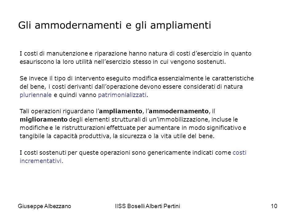 Giuseppe AlbezzanoIISS Boselli Alberti Pertini11 Gli ammodernamenti e gli ampliamenti Come accade per le manutenzioni e riparazioni, anche per gli ampliamenti, le ristrutturazioni ecc.