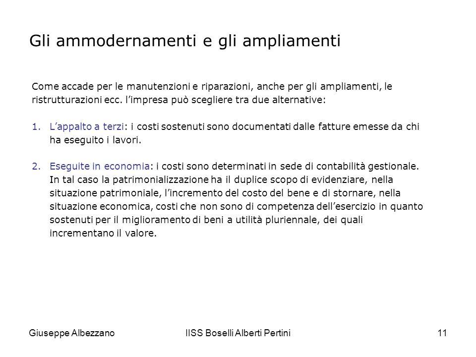 Giuseppe AlbezzanoIISS Boselli Alberti Pertini12 ESEMPIO 1 Costi incrementativi appaltati a terzi Un fabbricato del costo originario di 90.000, che ospita la direzione dimpresa, necessita di ristrutturazioni.