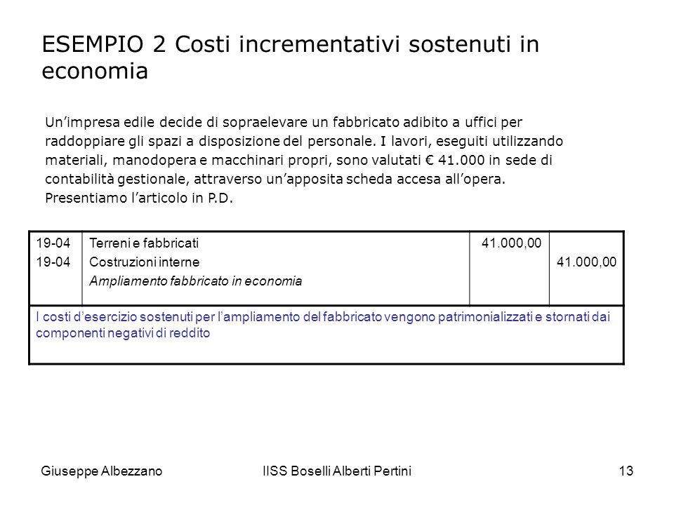 Giuseppe AlbezzanoIISS Boselli Alberti Pertini14 In sintesi… I costi per manutenzione e riparazione rappresentano costi desercizio I costi di ammodernamento e ampliamento rappresentano costi pluriennali Tali operazioni possono essere appaltate a terzi o eseguite in economia