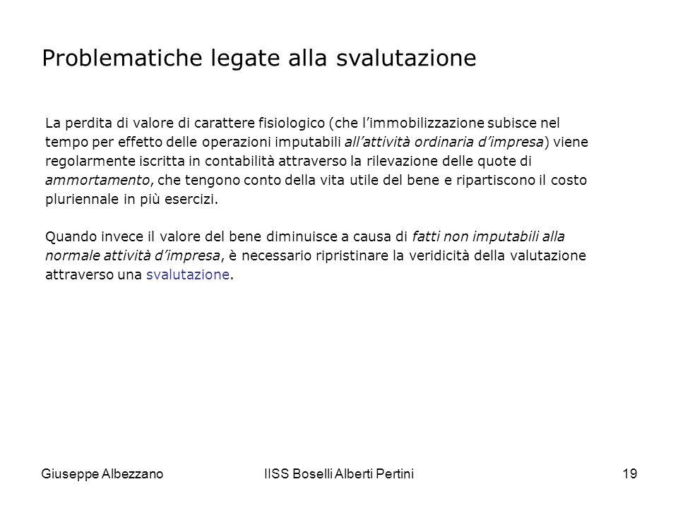 Giuseppe AlbezzanoIISS Boselli Alberti Pertini20 Il bilancio deve infatti rappresentare in modo veritiero e corretto la situazione patrimoniale dellimpresa e deve essere redatto secondo il principio della prudenza: pertanto, i valori dei beni che risultano sopravvalutati devono essere ridotti.