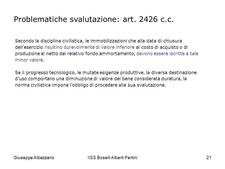 Giuseppe AlbezzanoIISS Boselli Alberti Pertini22 Contabilmente la svalutazione viene rilevata con articoli analoghi ai seguenti: Problematiche svalutazione: art.