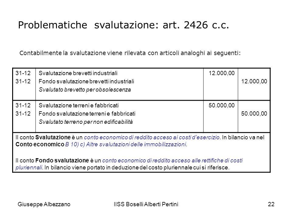 Giuseppe AlbezzanoIISS Boselli Alberti Pertini23 ESEMPIO: svalutazione di unimmobilizzazione tecnica Un impianto per linsacchettamento automatico di paste alimentari (da 10 pezzi al minuto) viene sostituito da un nuovo impianto che consente di raddoppiare i pezzi prodotti.