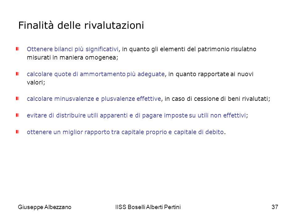 Giuseppe AlbezzanoIISS Boselli Alberti Pertini38 FINE rron, rron …rivalutazioni, svalutazioni,…rron rron....manutenzioni…rrron rronn