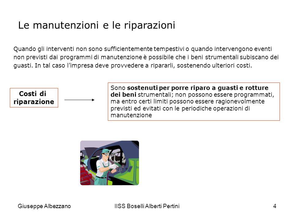 Giuseppe AlbezzanoIISS Boselli Alberti Pertini5 Le operazioni di manutenzione e riparazione possono essere: A.Eseguite da terzi (appalto): loperazione risulta documentata da fatture in cui i costi di manutenzione sono assoggettati a Iva.