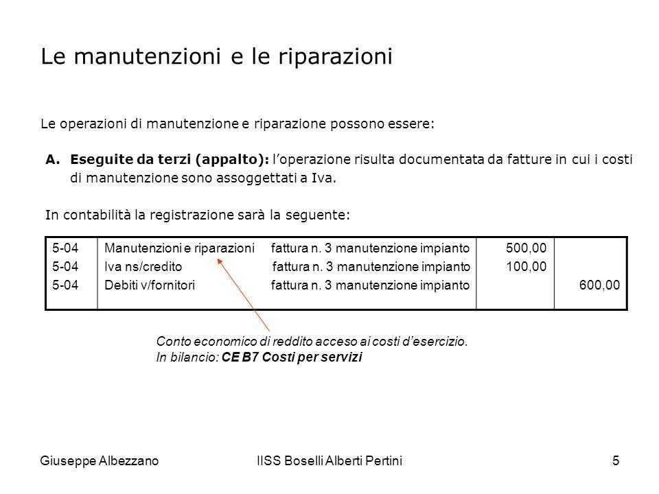 Giuseppe AlbezzanoIISS Boselli Alberti Pertini6 B.Eseguite allinterno dellimpresa (in economia): è possibile che limpresa disponga di un servizio di manutenzione e riparazione interno che si avvale di strutture e personale addetto allo scopo.