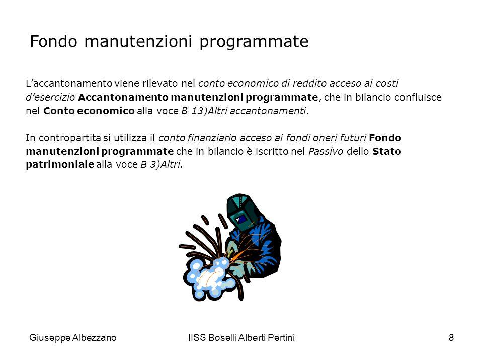 Giuseppe AlbezzanoIISS Boselli Alberti Pertini9 Fondo manutenzioni programmate Unimpresa industriale dispone di un impianto che richiede, ogni tre anni, in intervento di pulitura e disincrostazione il cui costo è stimato in 24.000.