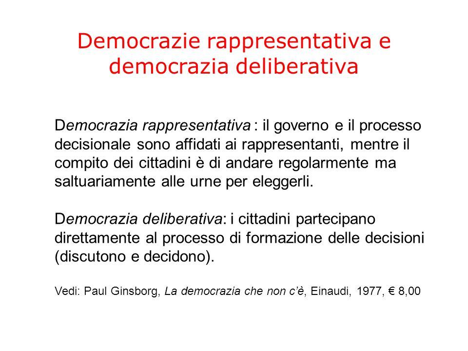 Democrazie rappresentativa e democrazia deliberativa Democrazia rappresentativa : il governo e il processo decisionale sono affidati ai rappresentanti