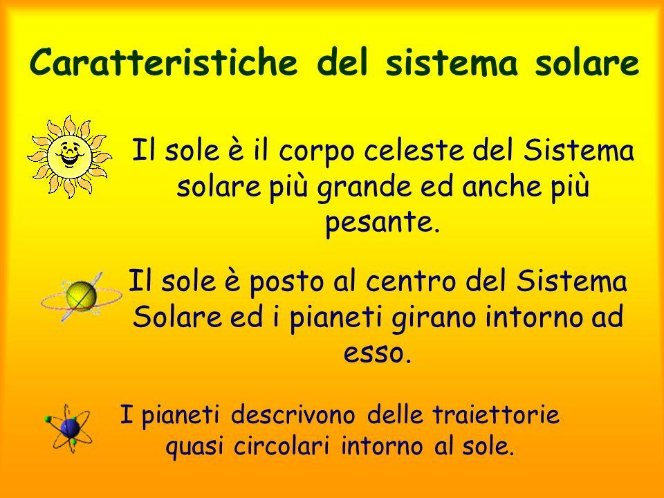 Caratteristiche del sistema solare Il sole è il corpo celeste del Sistema solare più grande ed anche più pesante. Il sole è posto al centro del Sistem
