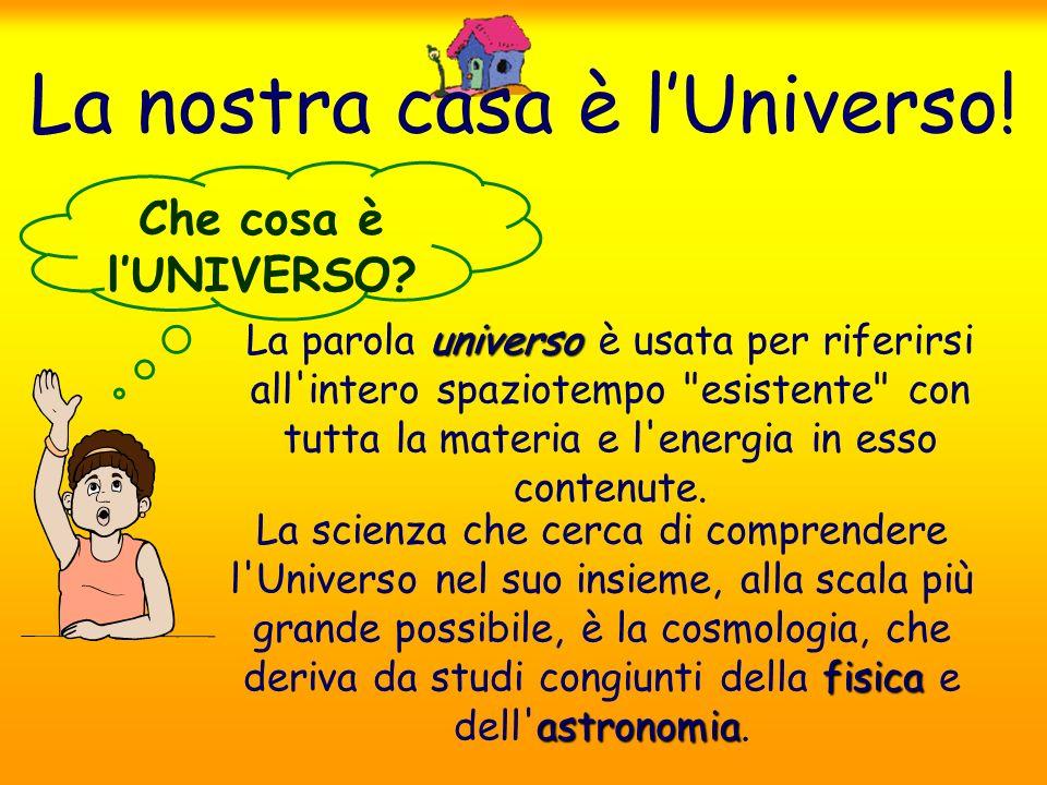 La nostra casa è lUniverso! universo La parola universo è usata per riferirsi all'intero spaziotempo