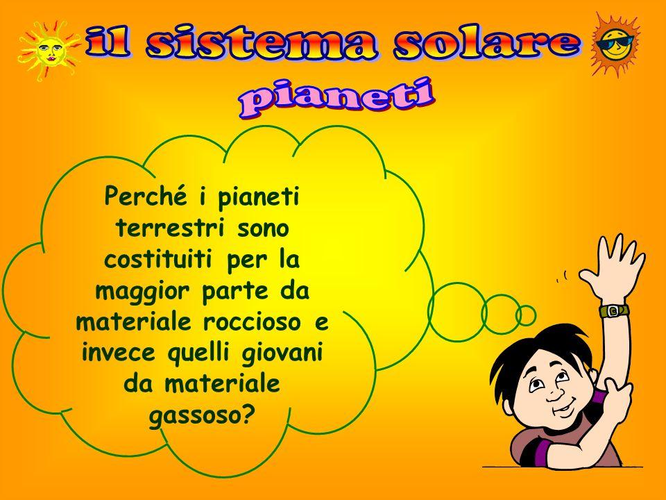 Perché i pianeti terrestri sono costituiti per la maggior parte da materiale roccioso e invece quelli giovani da materiale gassoso?