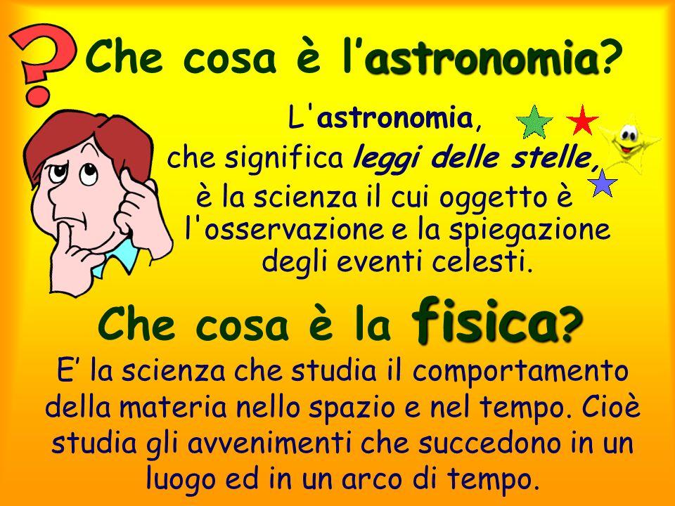 astronomia Che cosa è lastronomia? L'astronomia, che significa leggi delle stelle, è la scienza il cui oggetto è l'osservazione e la spiegazione degli