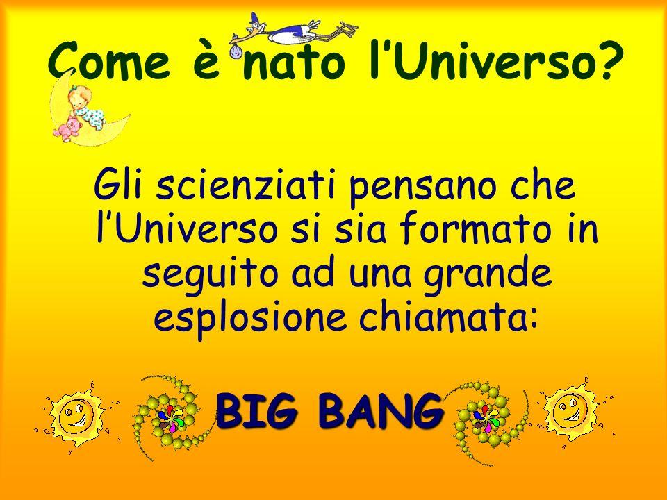 Come è nato lUniverso? Gli scienziati pensano che lUniverso si sia formato in seguito ad una grande esplosione chiamata: BIG BANG