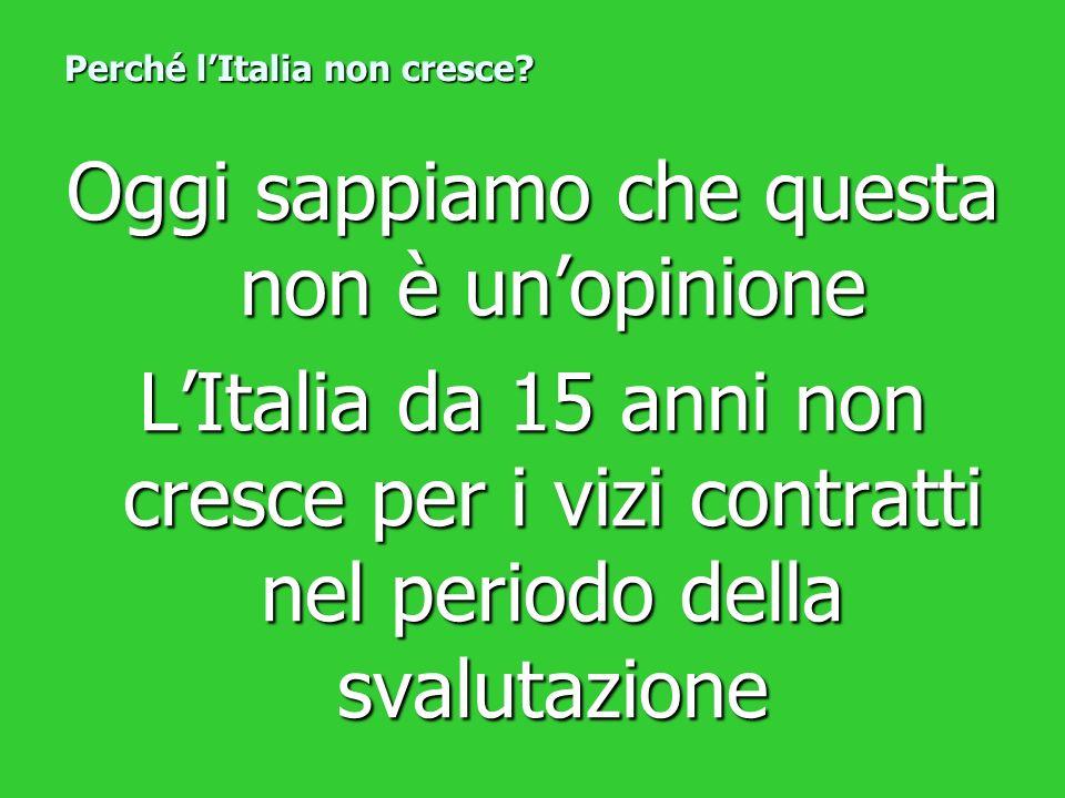 Oggi sappiamo che questa non è unopinione LItalia da 15 anni non cresce per i vizi contratti nel periodo della svalutazione Perché lItalia non cresce?