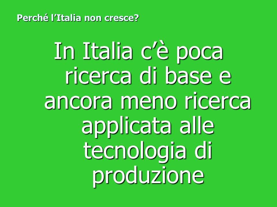 In Italia cè poca ricerca di base e ancora meno ricerca applicata alle tecnologia di produzione Perché lItalia non cresce?