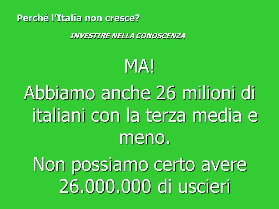 MA! Abbiamo anche 26 milioni di italiani con la terza media e meno. Non possiamo certo avere 26.000.000 di uscieri Perché lItalia non cresce? INVESTIR