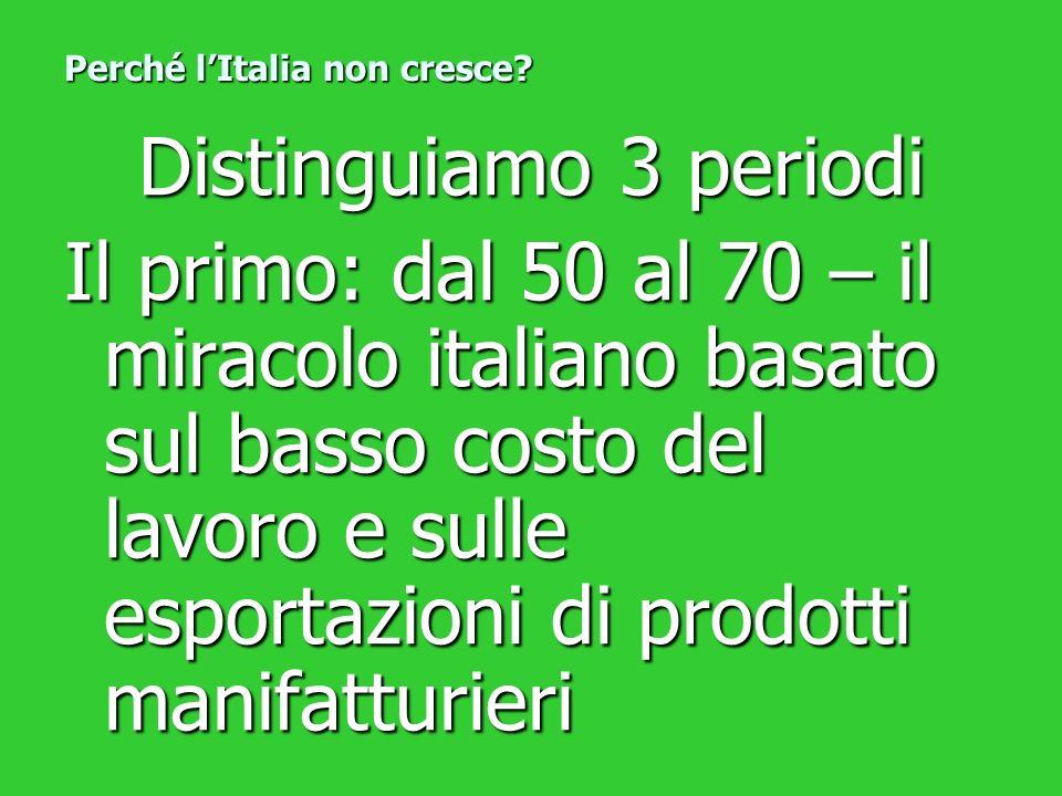 Distinguiamo 3 periodi Il primo: dal 50 al 70 – il miracolo italiano basato sul basso costo del lavoro e sulle esportazioni di prodotti manifatturieri