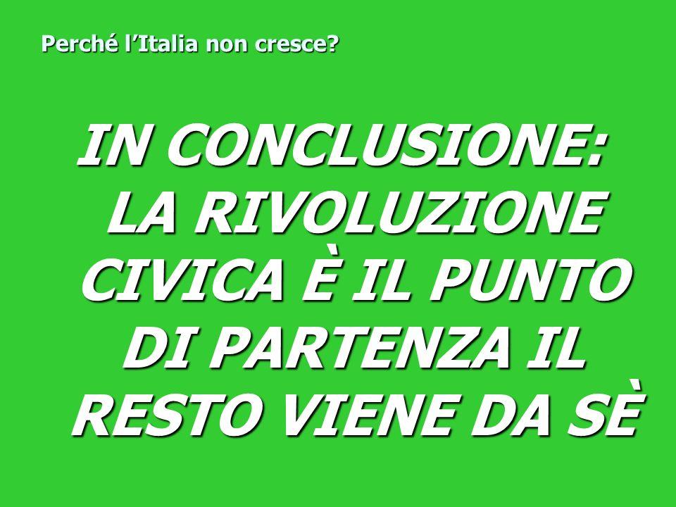 IN CONCLUSIONE: LA RIVOLUZIONE CIVICA È IL PUNTO DI PARTENZA IL RESTO VIENE DA SÈ Perché lItalia non cresce?