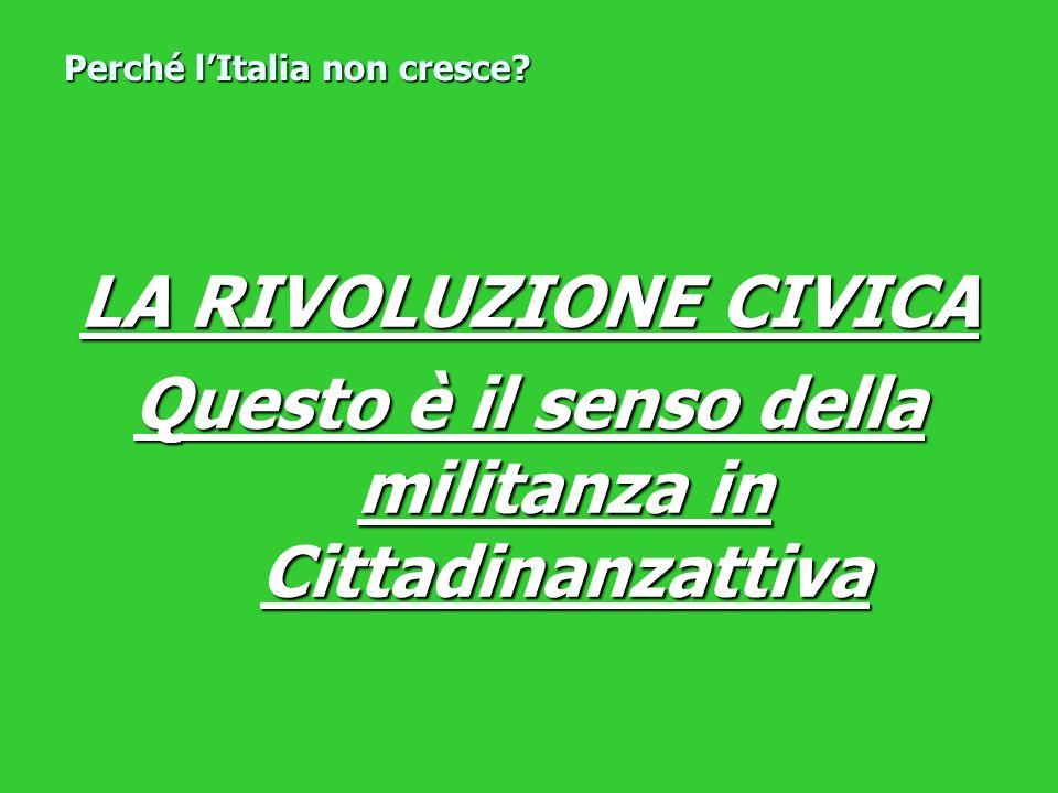 LA RIVOLUZIONE CIVICA Questo è il senso della militanza in Cittadinanzattiva Perché lItalia non cresce?