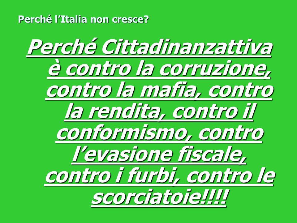 Perché Cittadinanzattiva è contro la corruzione, contro la mafia, contro la rendita, contro il conformismo, contro levasione fiscale, contro i furbi,
