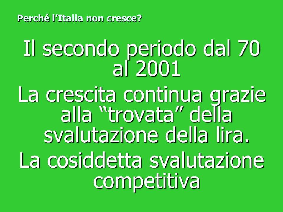Il secondo periodo dal 70 al 2001 La crescita continua grazie alla trovata della svalutazione della lira. La cosiddetta svalutazione competitiva Perch