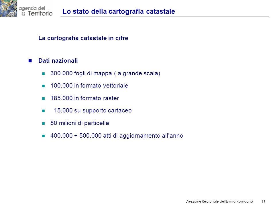 13 Direzione Regionale dell'Emilia Romagna 13 La cartografia catastale in cifre n Dati nazionali n 300.000 fogli di mappa ( a grande scala) n 100.000