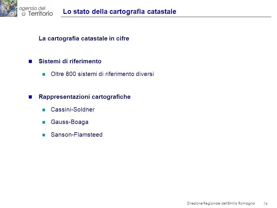 14 Direzione Regionale dell'Emilia Romagna 14 La cartografia catastale in cifre n Sistemi di riferimento n Oltre 800 sistemi di riferimento diversi n
