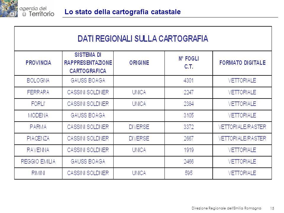 15 Direzione Regionale dell'Emilia Romagna 15 Lo stato della cartografia catastale