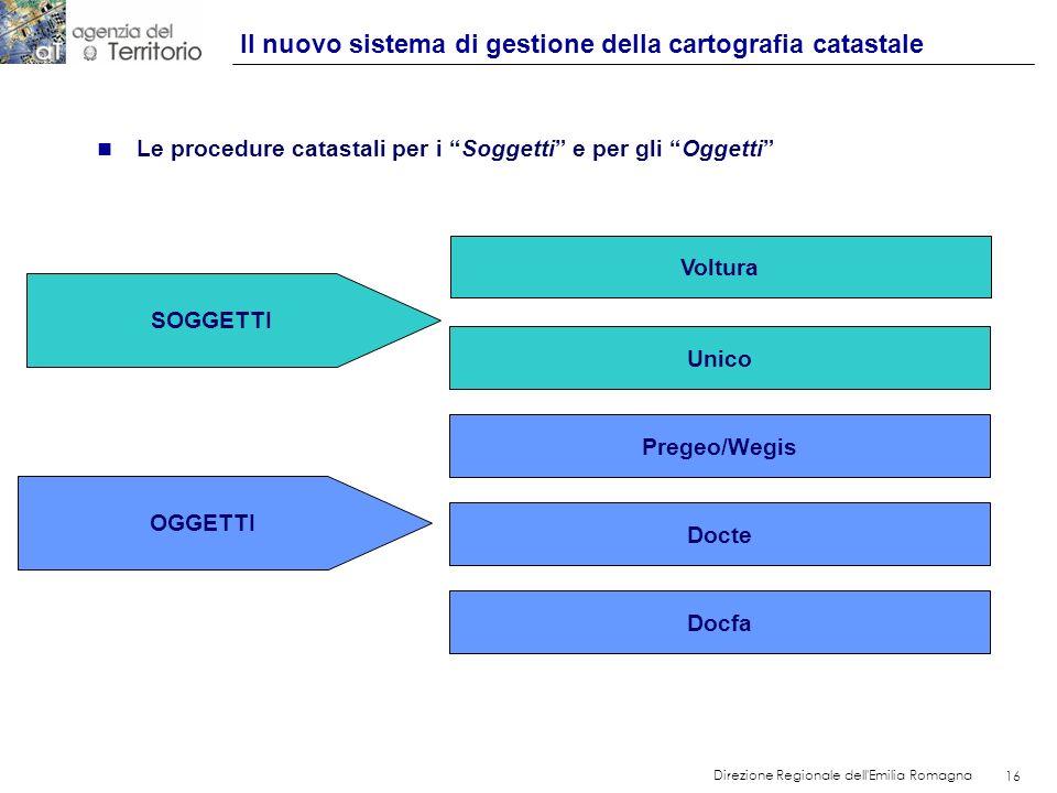 16 Direzione Regionale dell'Emilia Romagna 16 Il nuovo sistema di gestione della cartografia catastale n Le procedure catastali per i Soggetti e per g